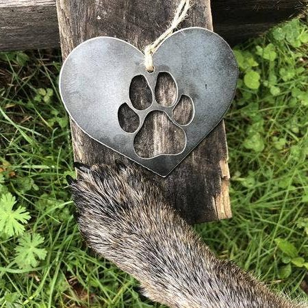 doggie paw metal ornament