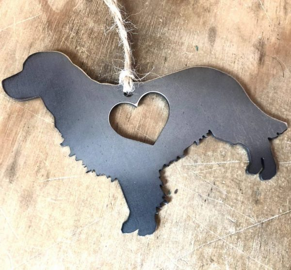 Metal Ornament - Golden Retriever with a heart