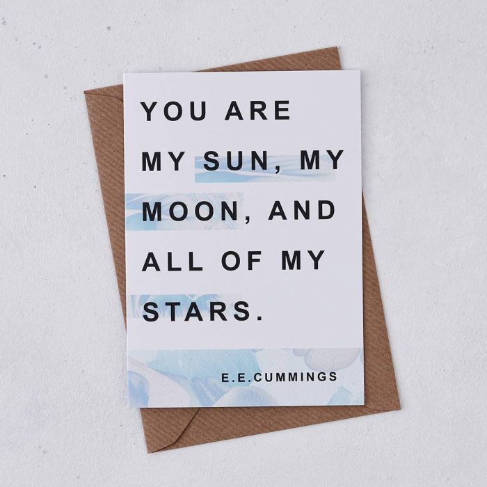 anniversary greeting card - you are my sun, my moon and all of my stars